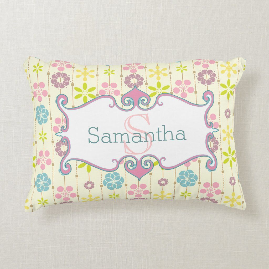 cute boho chic floral pattern monogram Accent Pillow - Home & Garden - Bedroom - Pillows