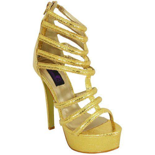 Cleopatra Womens Feliza Platform Sandals Gold 85 M US -- Visit the image link more details.