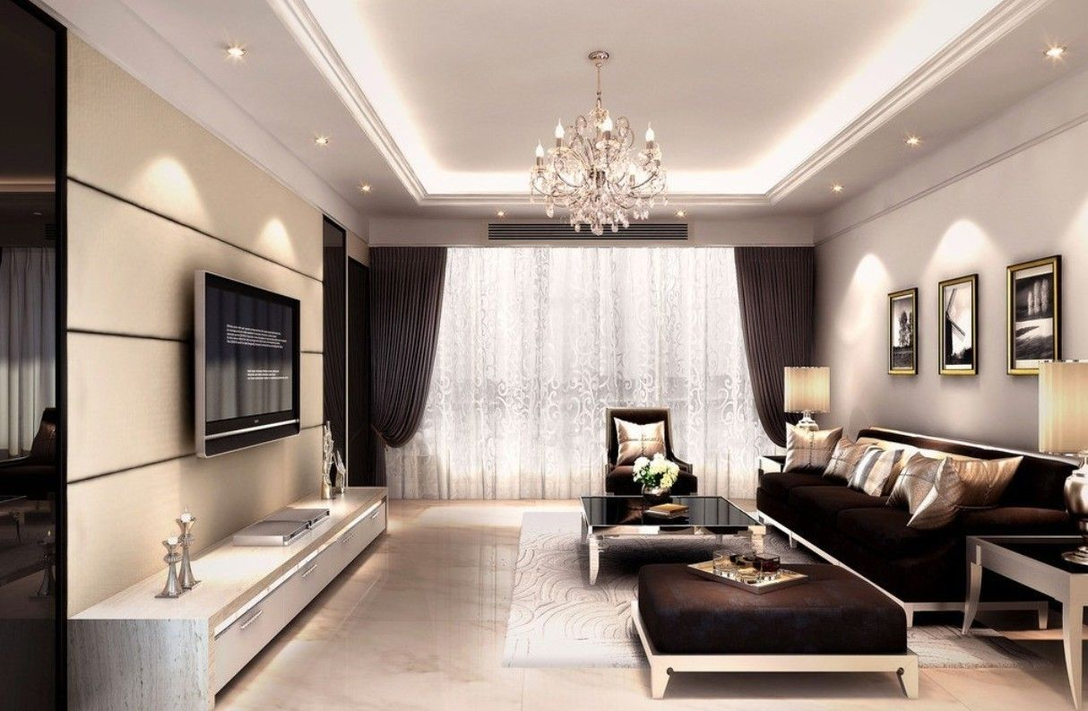 Interior Decoration Living Room Rendering With Tv Wall Sofa And Crystal Light