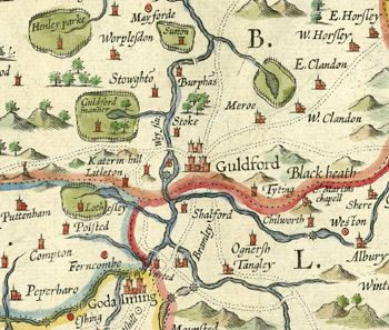 Guilford England Map.Detail Of Map Of Surrey C 1603 Showing The Guildford Area