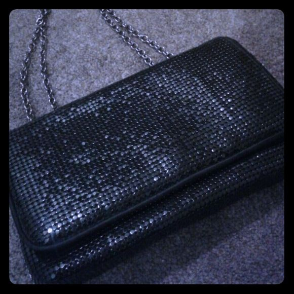 BCBG MAX ARIZA black sequin crossbody never used, kept in a pet + smoke-free home.  Flat sequins on outside, black satin on inside with snap closure and small inside pocket BCBGMaxAzria Bags Crossbody Bags