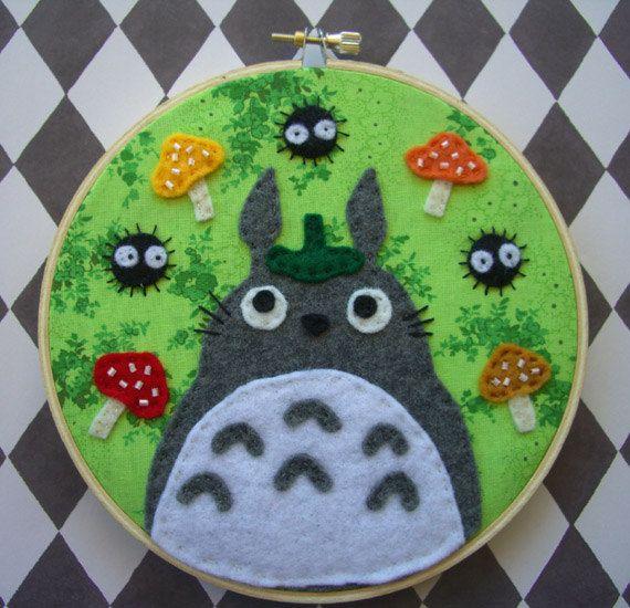 My Neighbor Totoro Hand Embroidered 6in HoopStudio by iggystarpup. SOLD