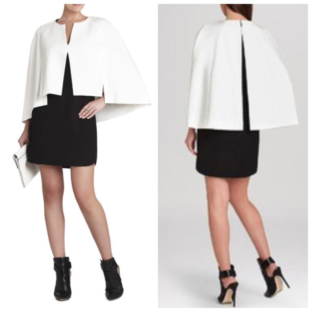 New Bcbg Maxazria Black Combo Crystal Cape Dress 6 338