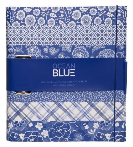 File your work, personal and important papers in this beautifully designed A4 rollbound lever arch file. Features blue and white floral and bird print patterned stripes complete with a blue elastic, a blue inner paper lining and a sturdy 2 ring binder. This will be sure to make your documents look stylish!