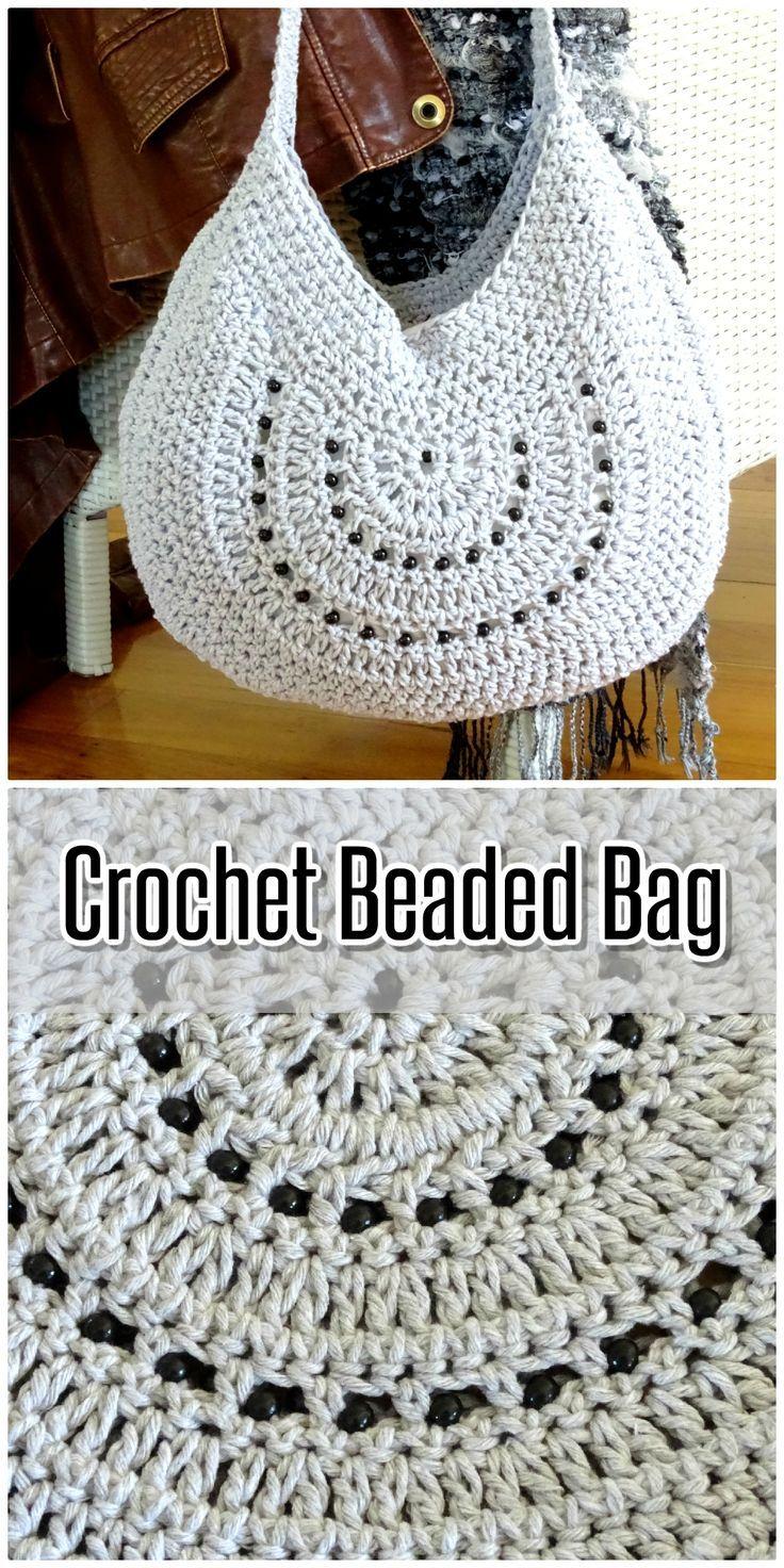 Crochet Bag | Cotton Crocheted Tote Beach Bag | Beaded Boho Shoulder Bag | Handmade Womens Handbag | Womens Ladies Accessories