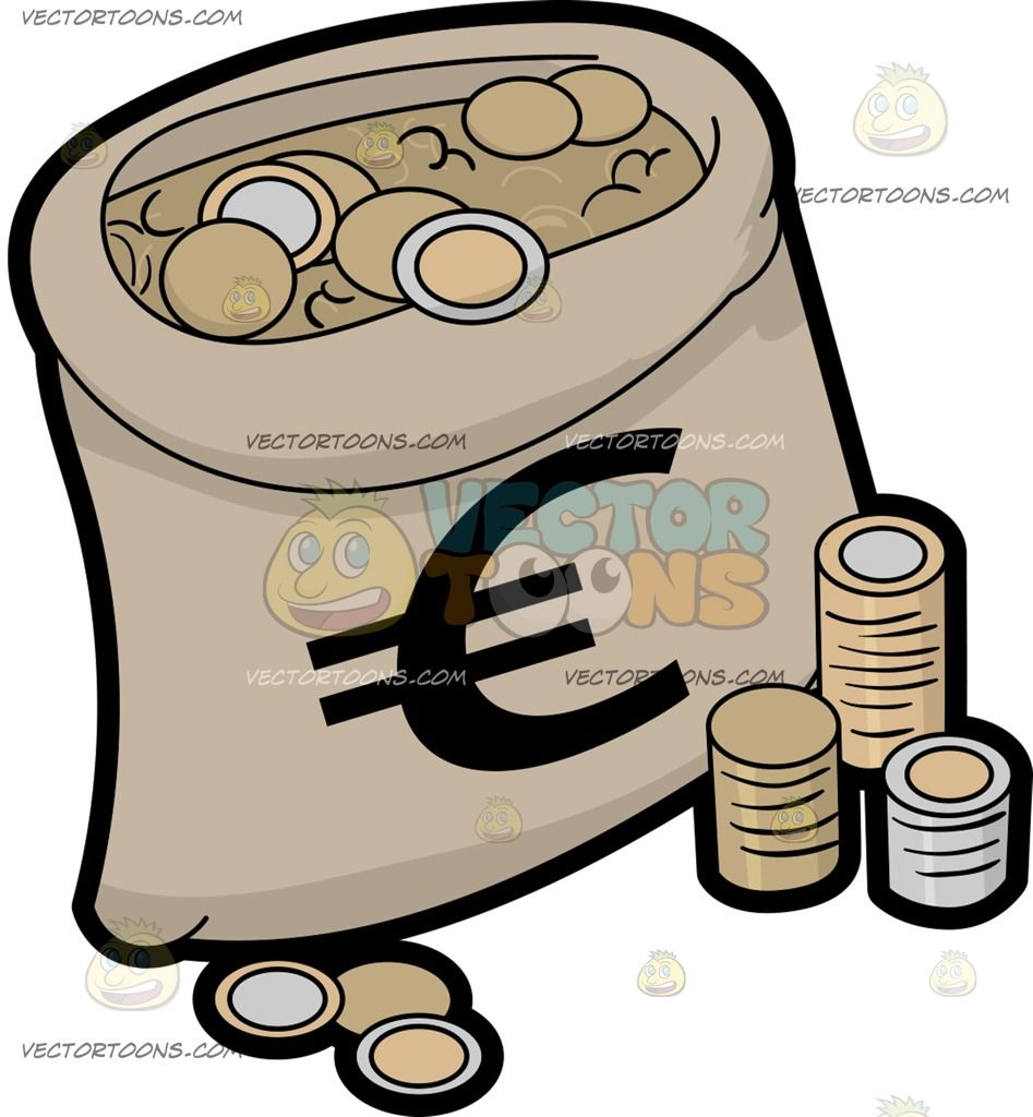 A Bag Full Of Euro Coins Vector Illustrations Pinterest Euro