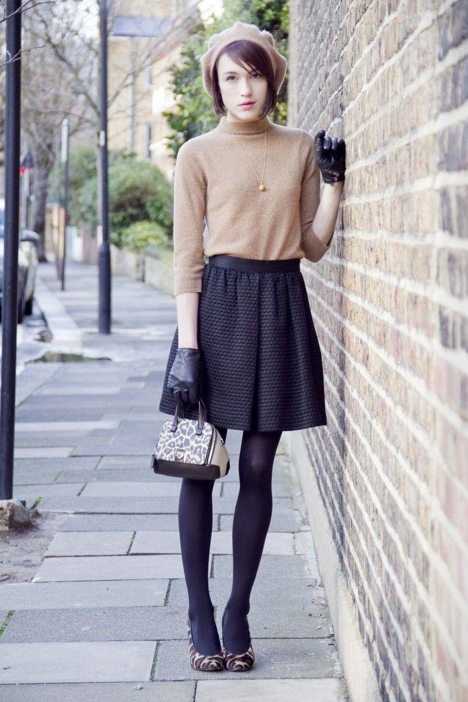 Camel Cashmere Mock Turtleneck with 3/4 Sleeves, Textured Skirt, Black Tights, Leopard Print Heels, Black Gloves, Beret // parisian