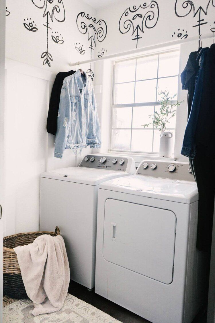 Hand Painted Accent Wall Faux Wallpaper Laundry Room Makeover Farmhouse Living Laundry Room Makeover Laundry Room Inspiration Room Makeover