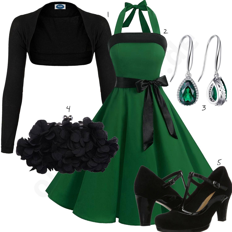 Elegantes Damenoutfit mit grünem Kleid und Pumps - outfits16you.de