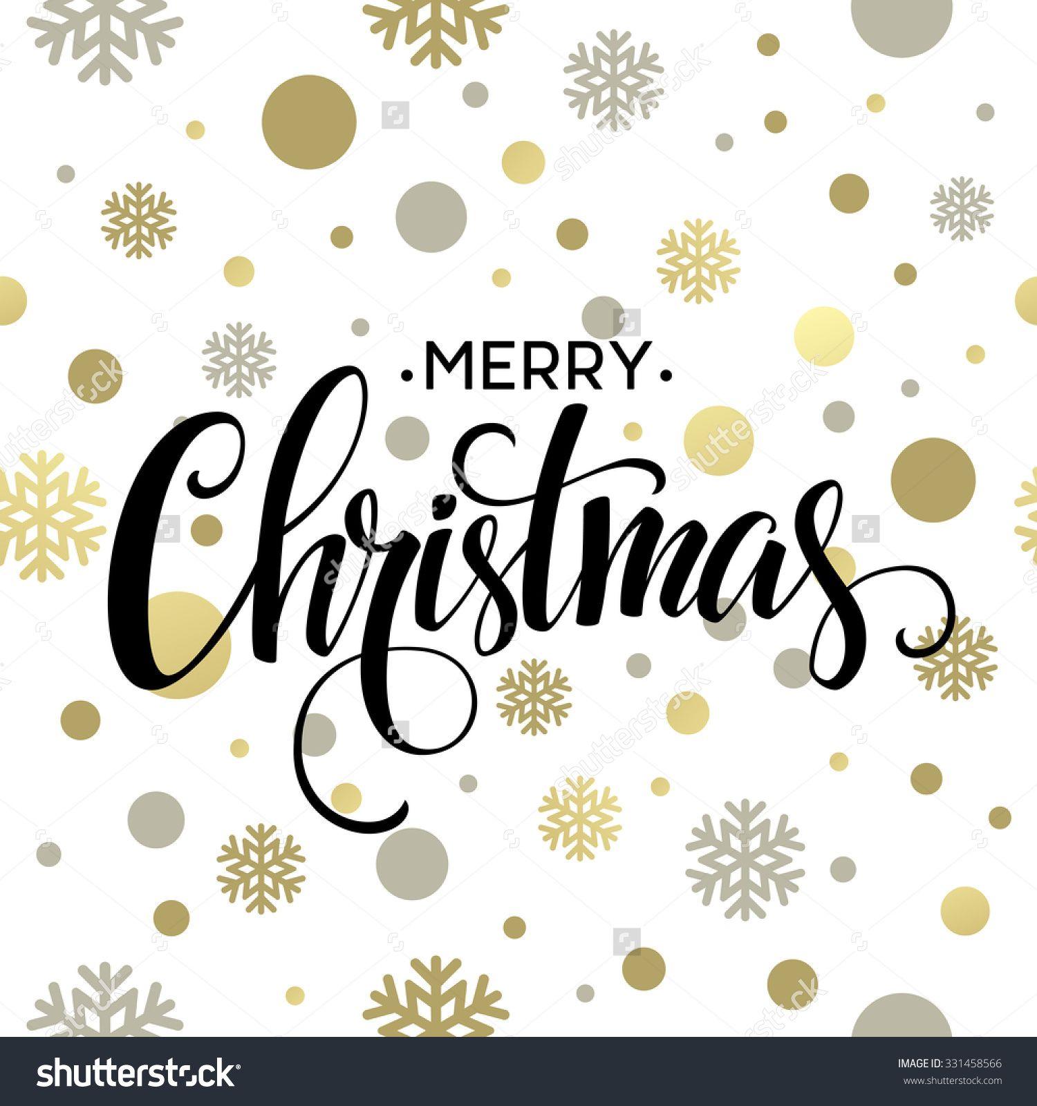 Merry Christmas Gold Glittering Lettering Design. Vector ...