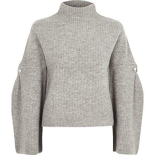 66eec4e61eb93 Grey high neck wide sleeve knit sweater - Sweaters - Knitwear - women