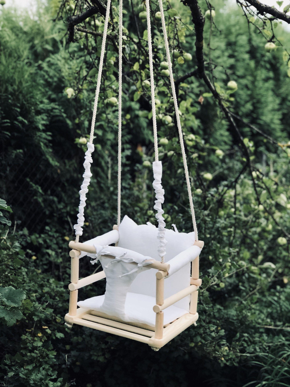Baby swing outdoor wooden swing indoor swing nursery decor swing