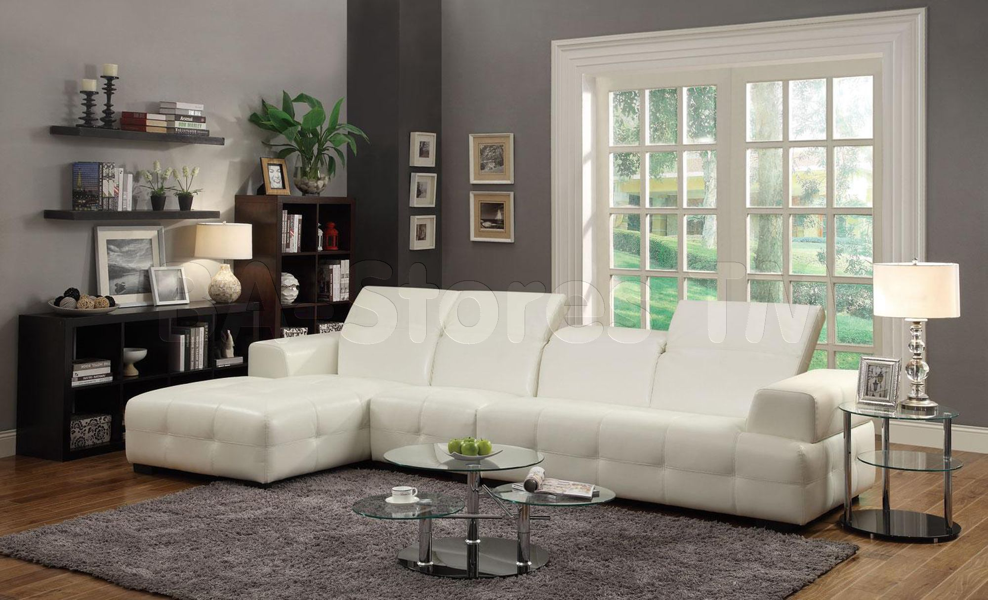 Darby White Sectional Sofa & Armless Chair Contemporary