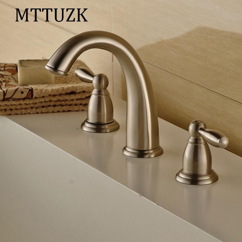 MTTUZK Waterfall Faucet Nickel Brushed Basin Faucets Deck