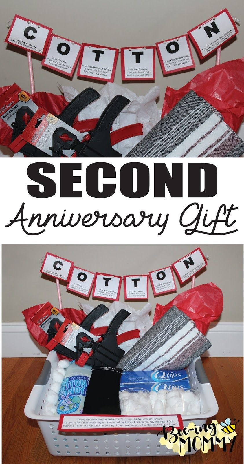 Second Wedding Anniversary gift basket - cotton anniversary ides for ...