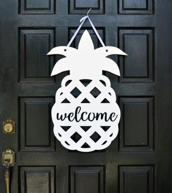 754dcea4aa1 Pineapple Door Hanger    Pineapple Welcome Sign    Front Door Decor     Pineapple Decor