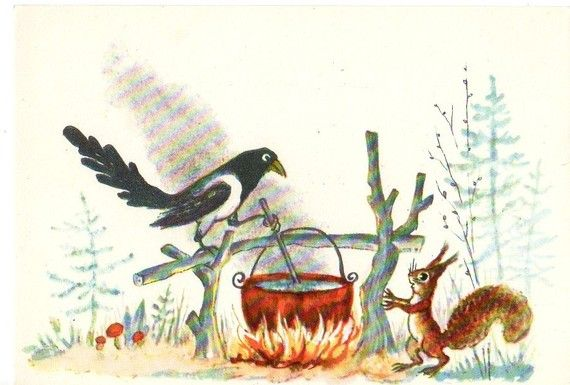 """bird: """"hey why don't you jump in my steaming pot of soup, squirrel?"""" squirrel: """"...."""""""
