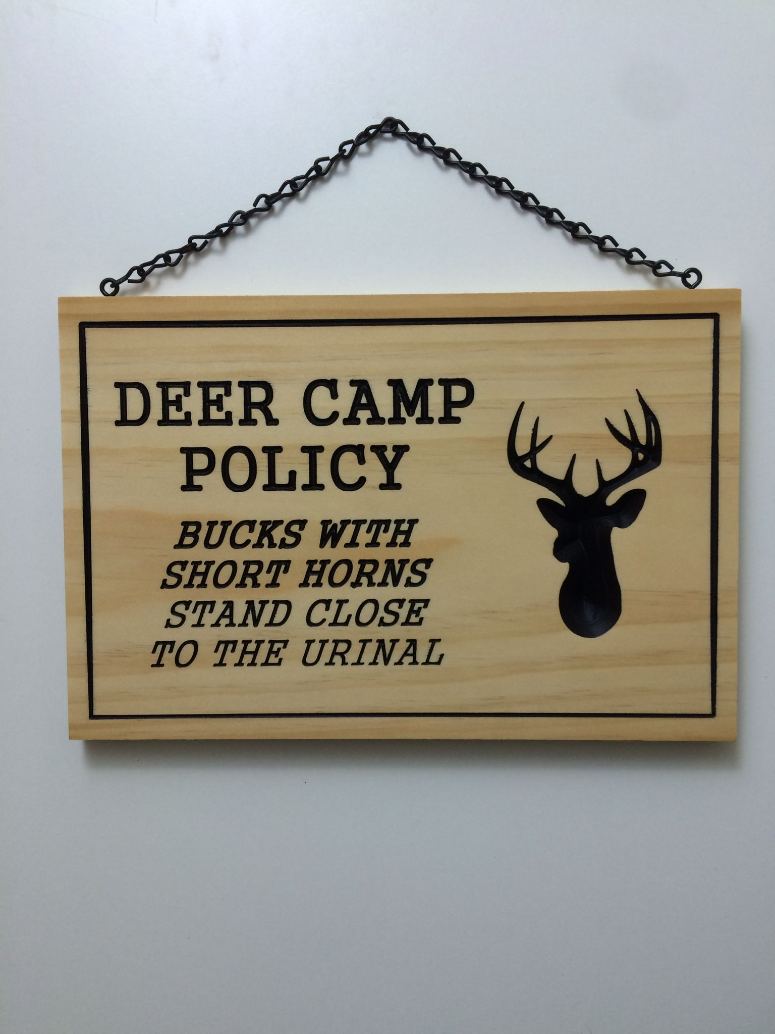 Custom engraved deer camp policy sign. Hunting signs
