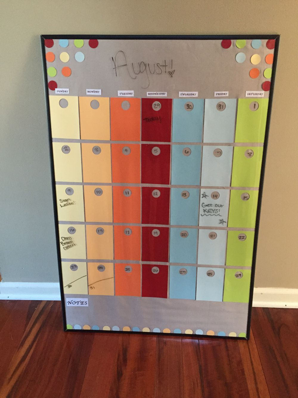 Paint Sample Calendar I Made Cheap Easy And Fast Diy