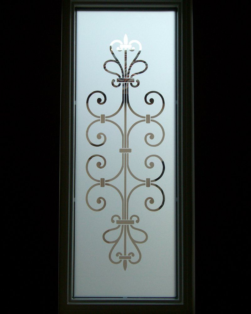 Frosted Glass Entry Window Ironwork Design  Lovely Lovely Lovely For My  Shower Door