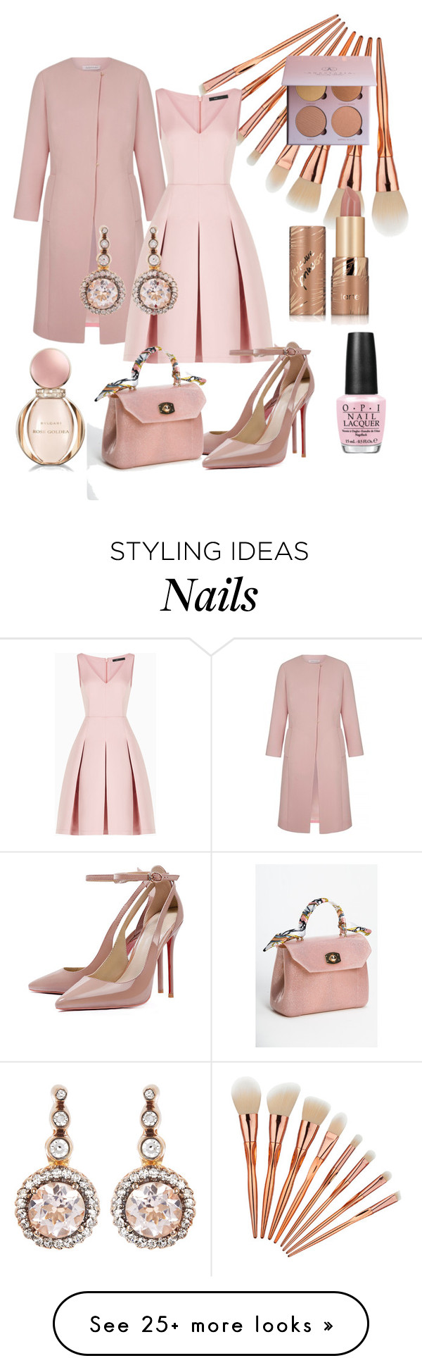 """Monochrome In Pastel Pink"" by klm62 on Polyvore featuring Bulgari, BCBGMAXAZRIA, tarte, OPI and Selim Mouzannar"