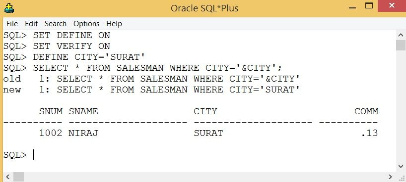 SQL Substitution Variables and DEFINE are used to prompt for user