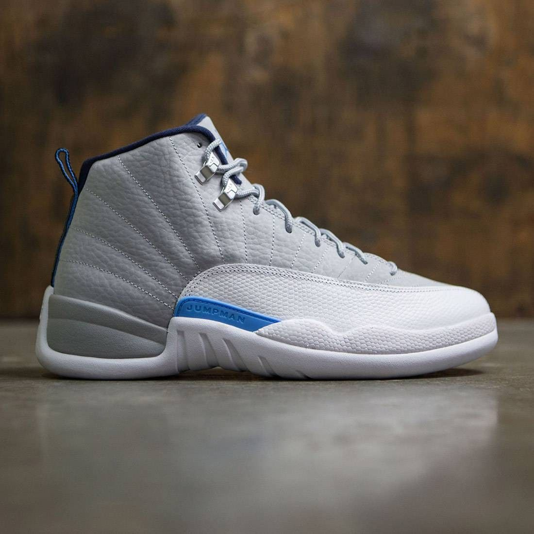 e4df59f7ca7e Jordan Men Air Jordan 12 Retro University Grey (grey   wolf grey    university blue-white)