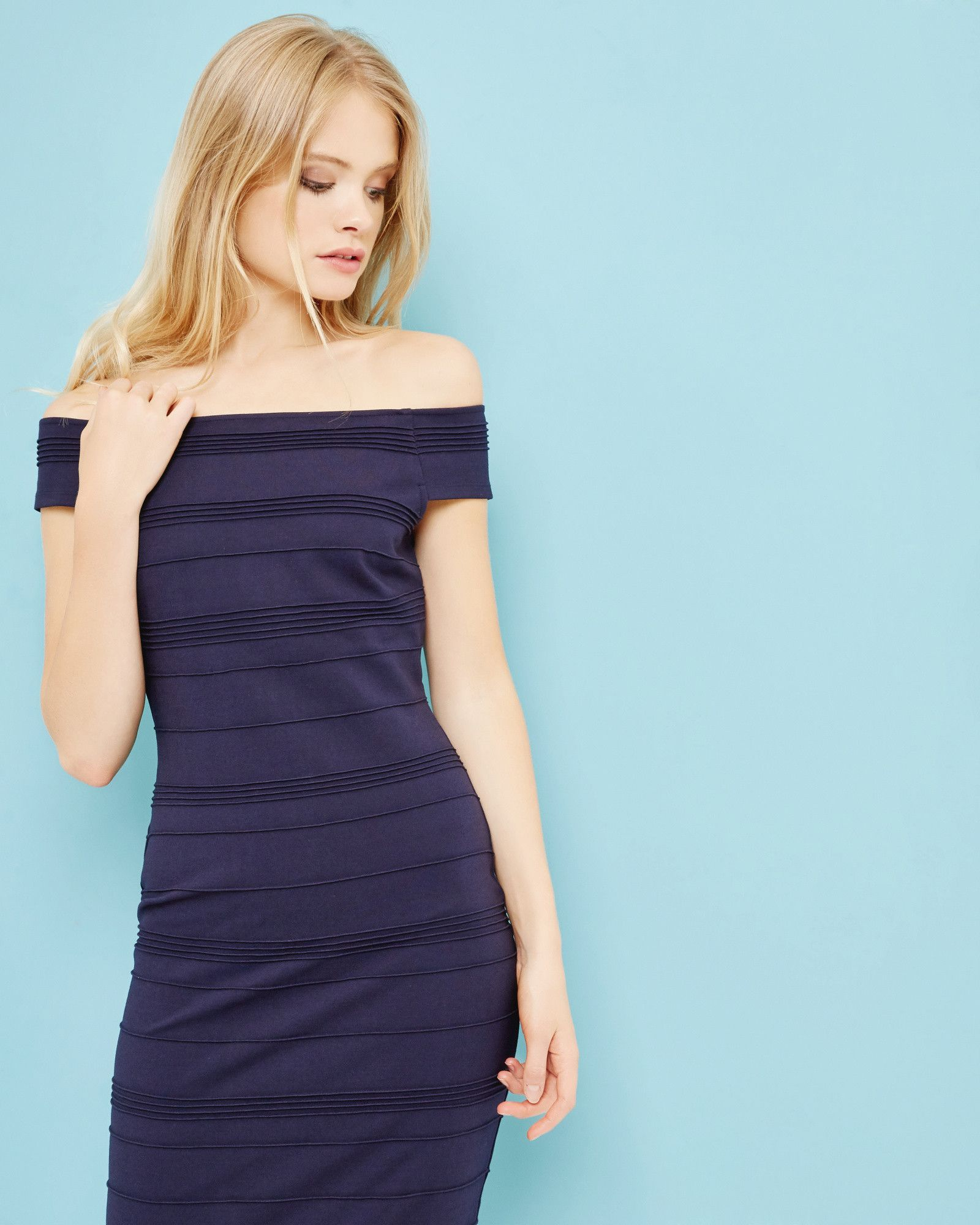 Textured Bardot midi dress - Dark Blue | Dresses | Ted Baker UK ...