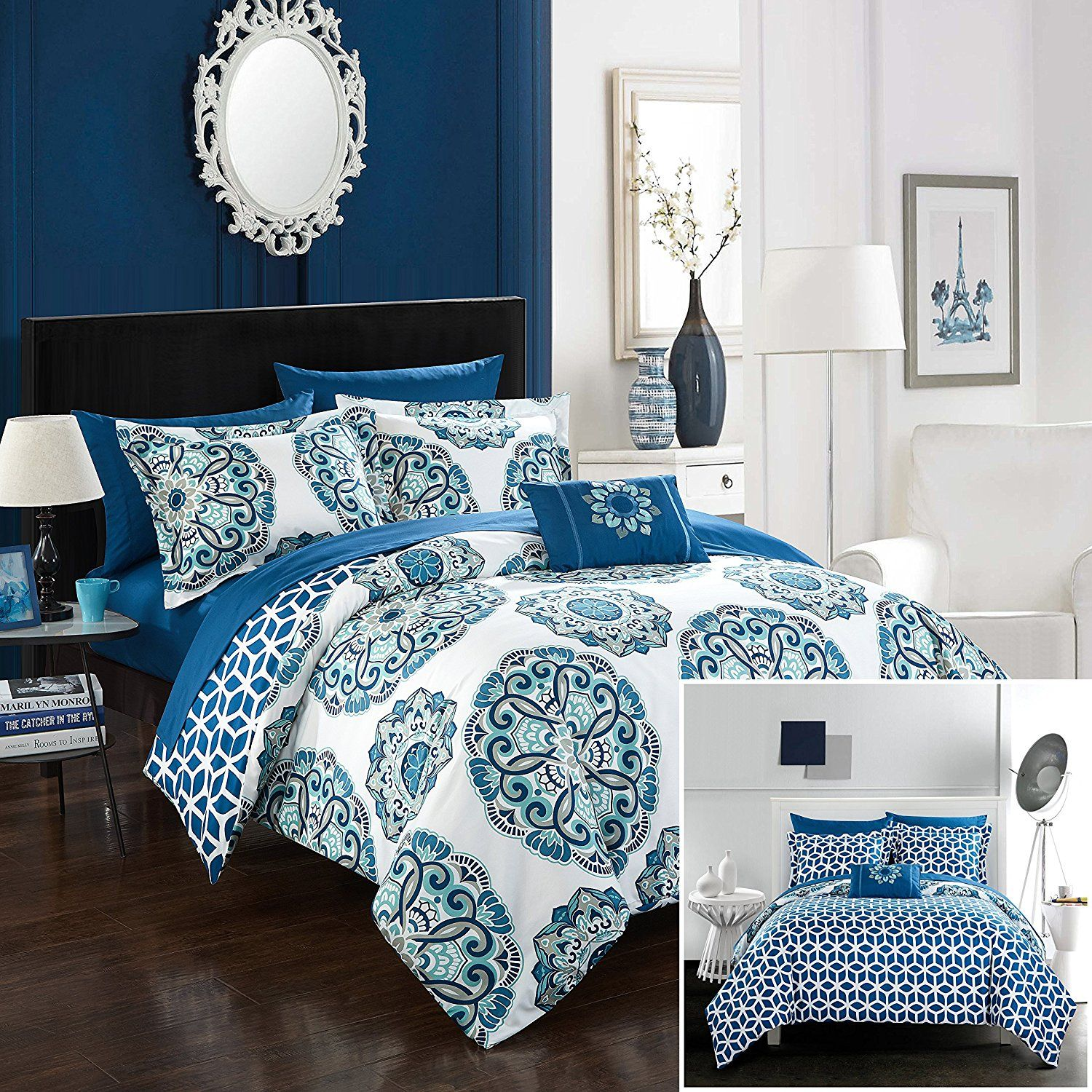 Blue and White Bedding Chic Home Barcelona 8 Piece Reversible