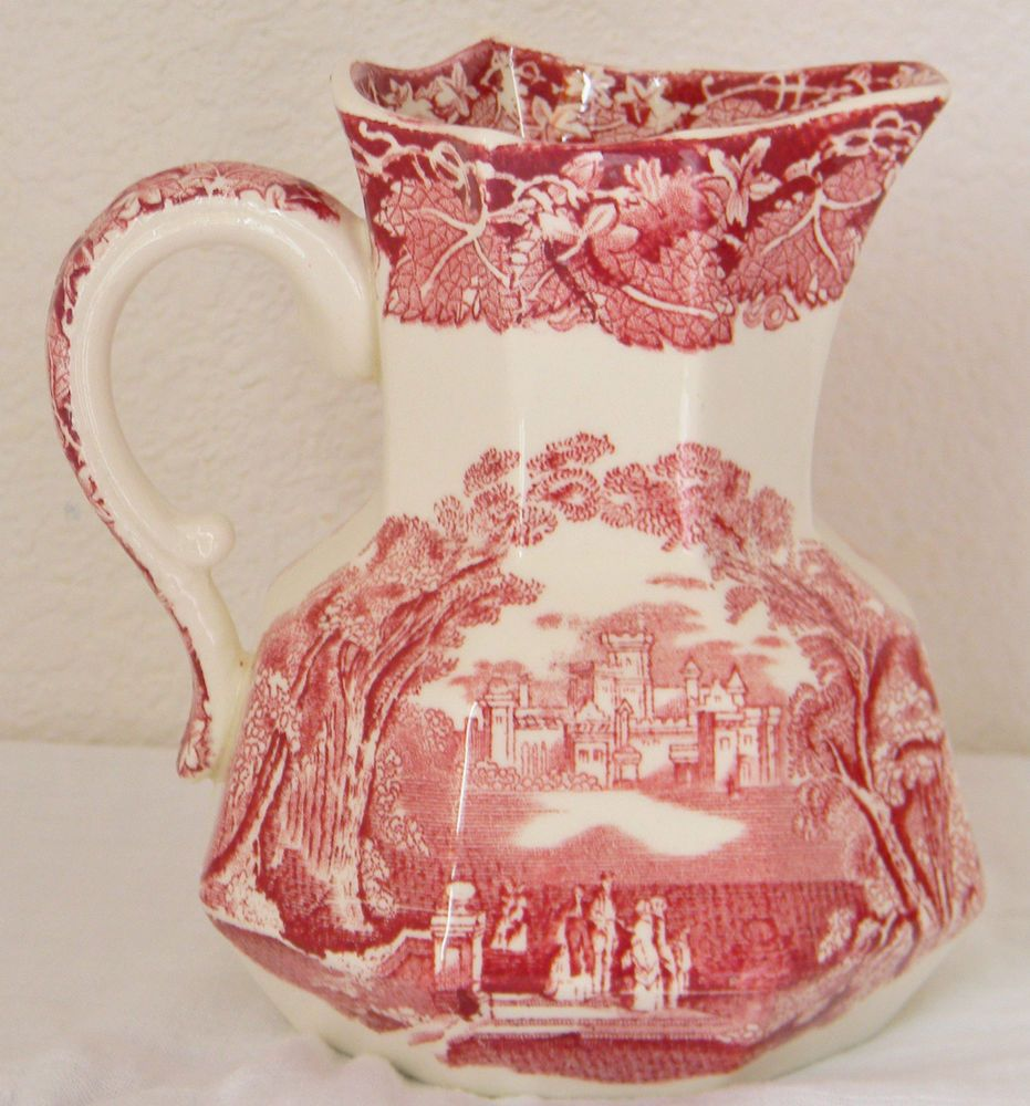 Vintage Mason\'s Vista England Transfer Ware Pink Red Pitcher ...