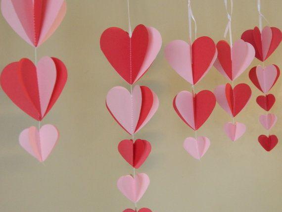 Valentine S Decorations Paper Heart Garland Pink And Red Valentine Decor Valentine Decoration Hanging Heart Garlands Paper Heart Garland Valentines Mantle Valentine Crafts
