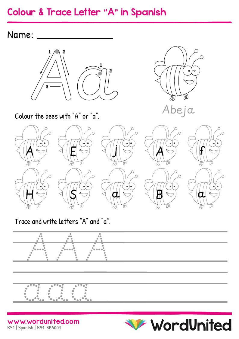 """Colour & Trace Letter """"A"""" in Spanish in 2020 (With images)"""