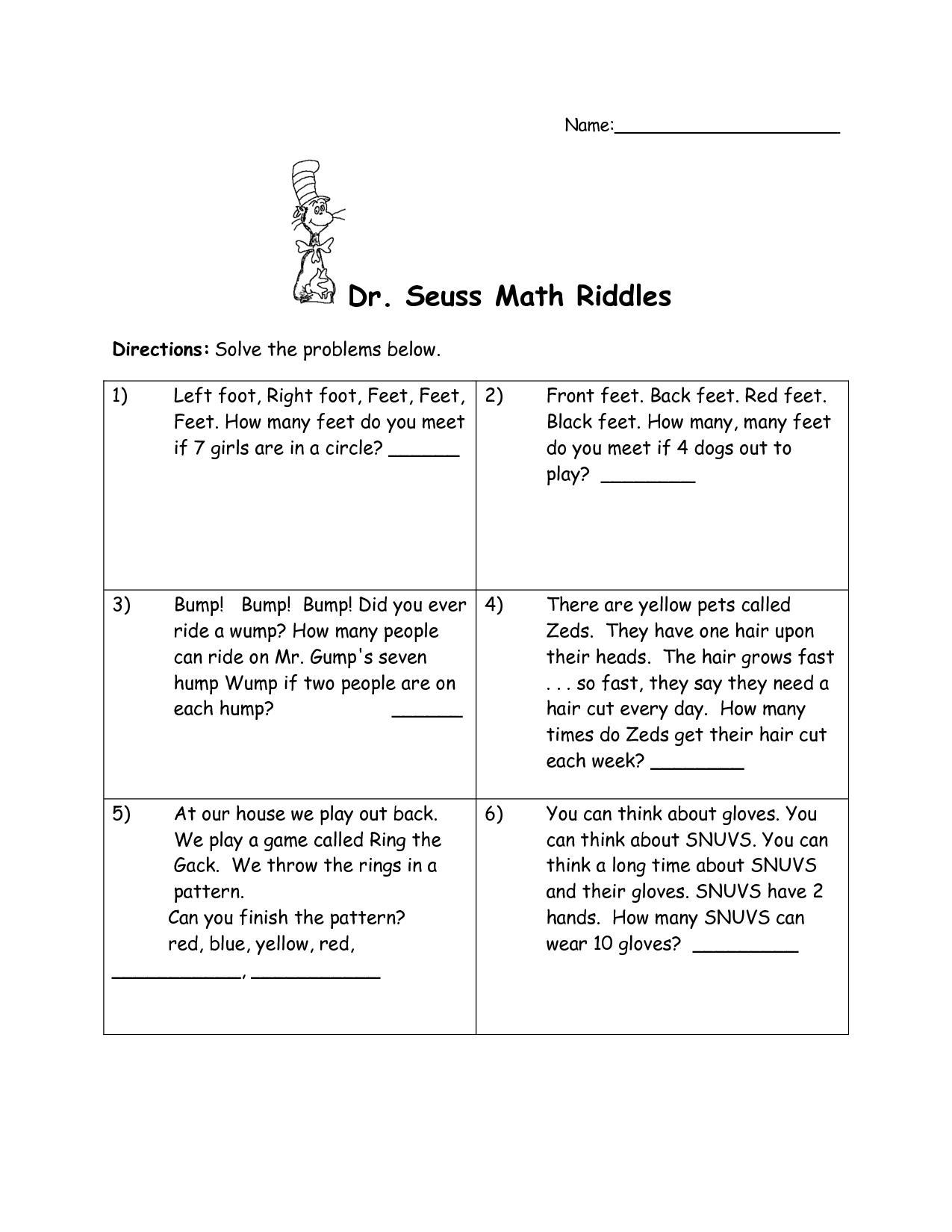 Worksheets Dr Seuss Worksheets dr seuss printables math riddles riddles