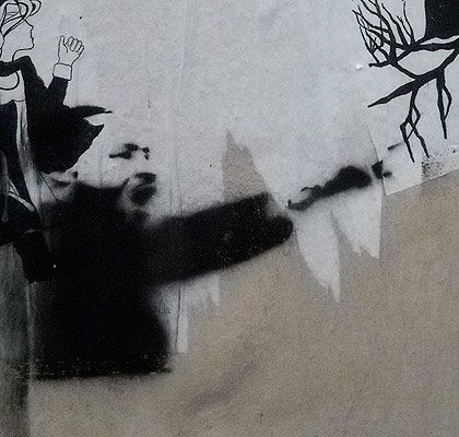 """""""Identifying political and historical references in art,"""" an upcoming feature on our new Membership offering, with this example being a stencil graffiti piece that we saw in Paris."""