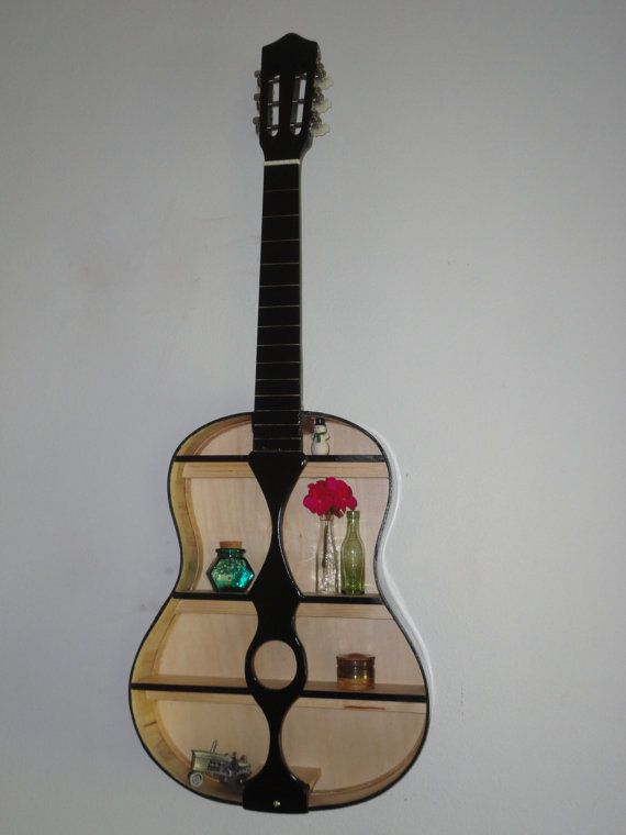 Guitar shelf made from real guitar 38 x 14 5 by sharedtime for Acoustic guitar decoration