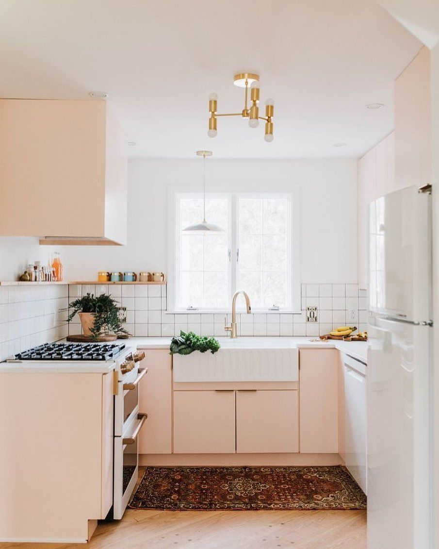 Gaff Interiors On Instagram When You Think Of A Peach Kitchen You Might Think Of Something Very 80s And K In 2020 Peach Kitchen Kitchen Remodel Pink Kitchen Cabinets
