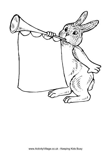 Easter Bunny And Trumpet Colouring Page Easter Colouring Easter