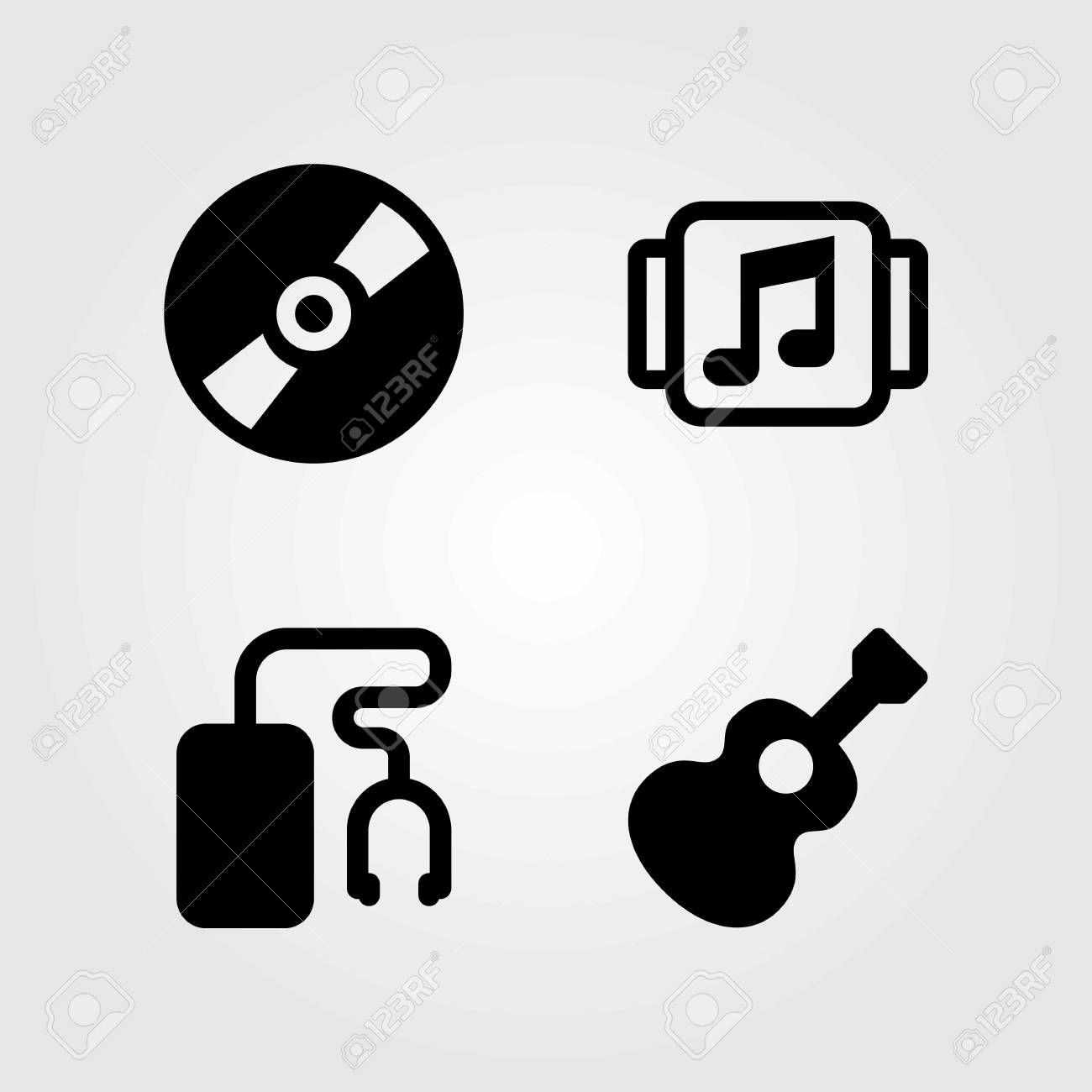 Multimedia Vector Icons Set Guitar Compact Disc And Music Player Illustration Affiliate Set Gu Graphic Design Portfolio Print Icon Set Vector Icon Set