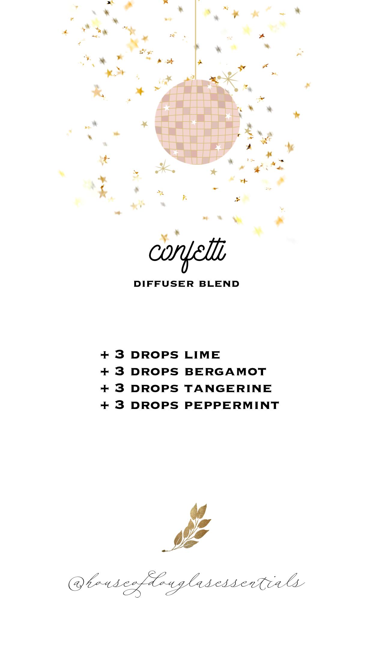 Confetti Diffuser Blend Lime Bergamot Tangerine Peppermint