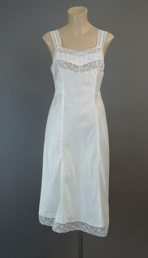 70f85cdd8b6 Vintage White Satin Full Slip 34 bust by Barbizon 1960s - Dandelion Vintage