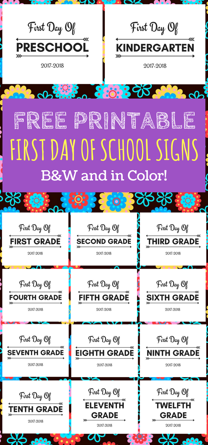 First Day of School Printable FREE 20172018 school year  School