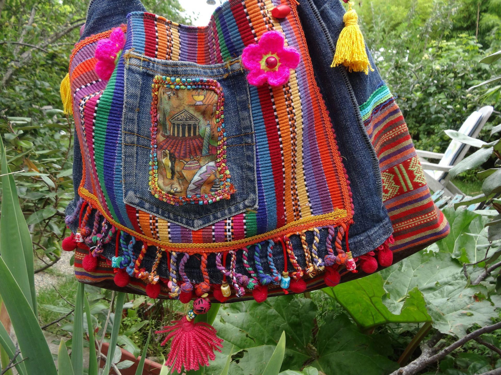 sac en jean style ethnique mexicain et tissu multicolores : Sacs ... - Style Ethnique