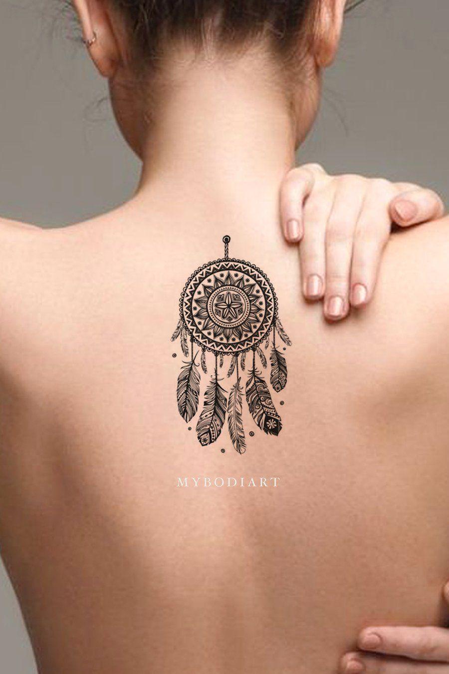 c55155a52 Cool Black Henna Dreamcatcher Back Spine Tattoo Ideas for Women -  www.MyBodiArt.com