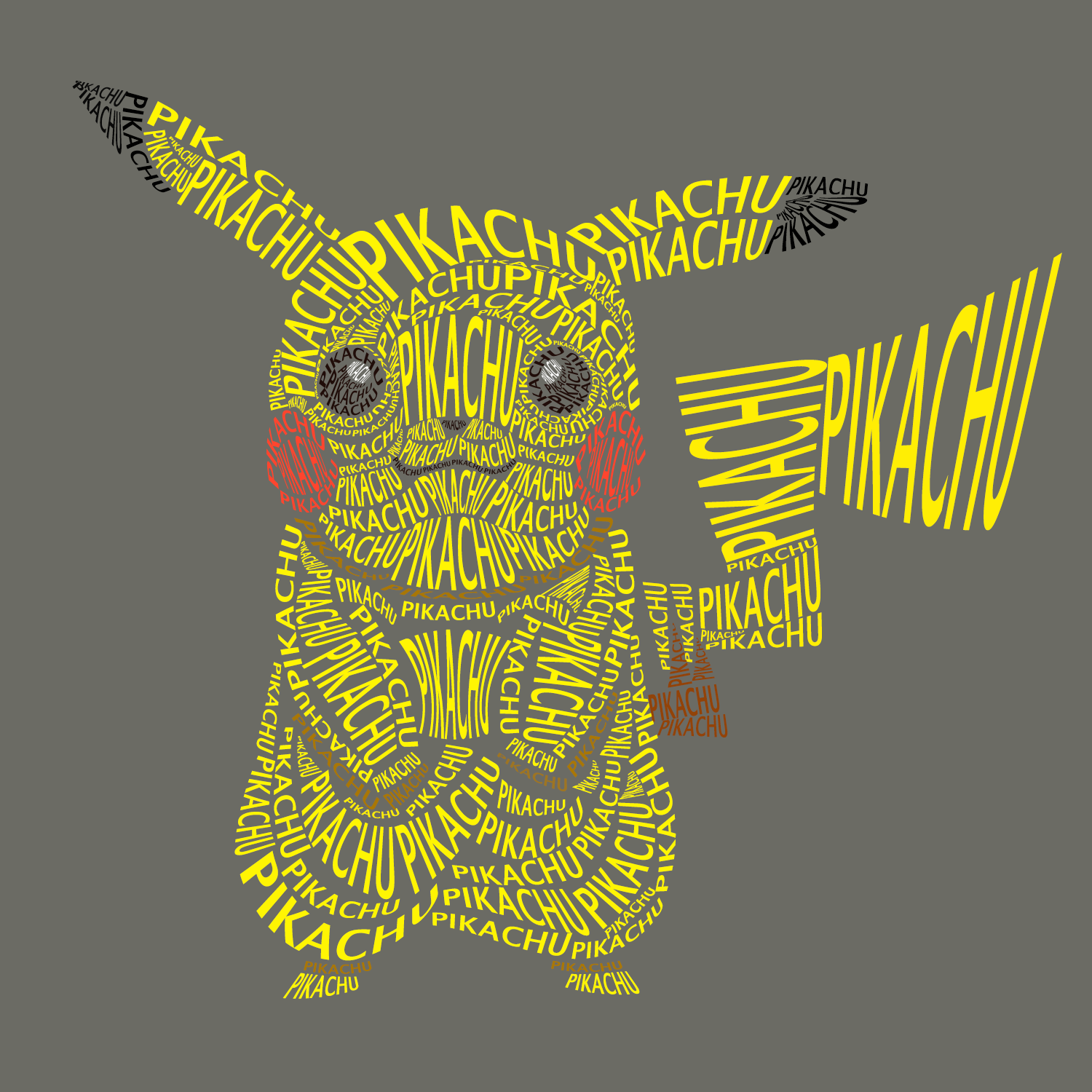 I Was Inspired By The Artist The Other Day With Their Text Composition Of Clank I Ve Been Playing A Lot Of Pokemon Lately And So Here Is My Attempt At Pikachu