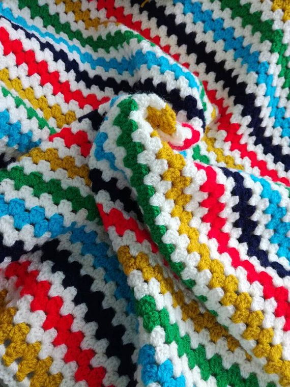 Crochet baby blanket, granny striped blanket, cot blanket, baby ...