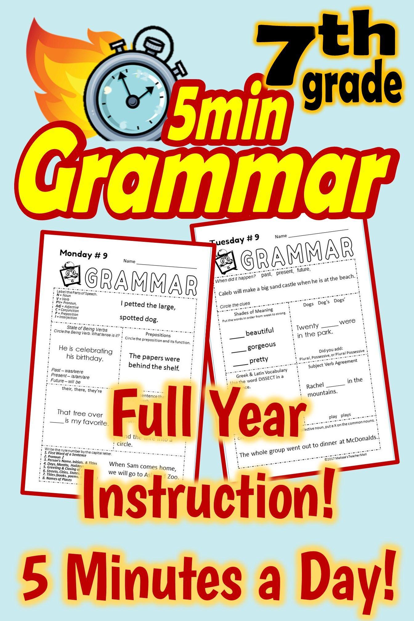 5 Minute Grammar Daily Grammar Worksheets 7th Grade
