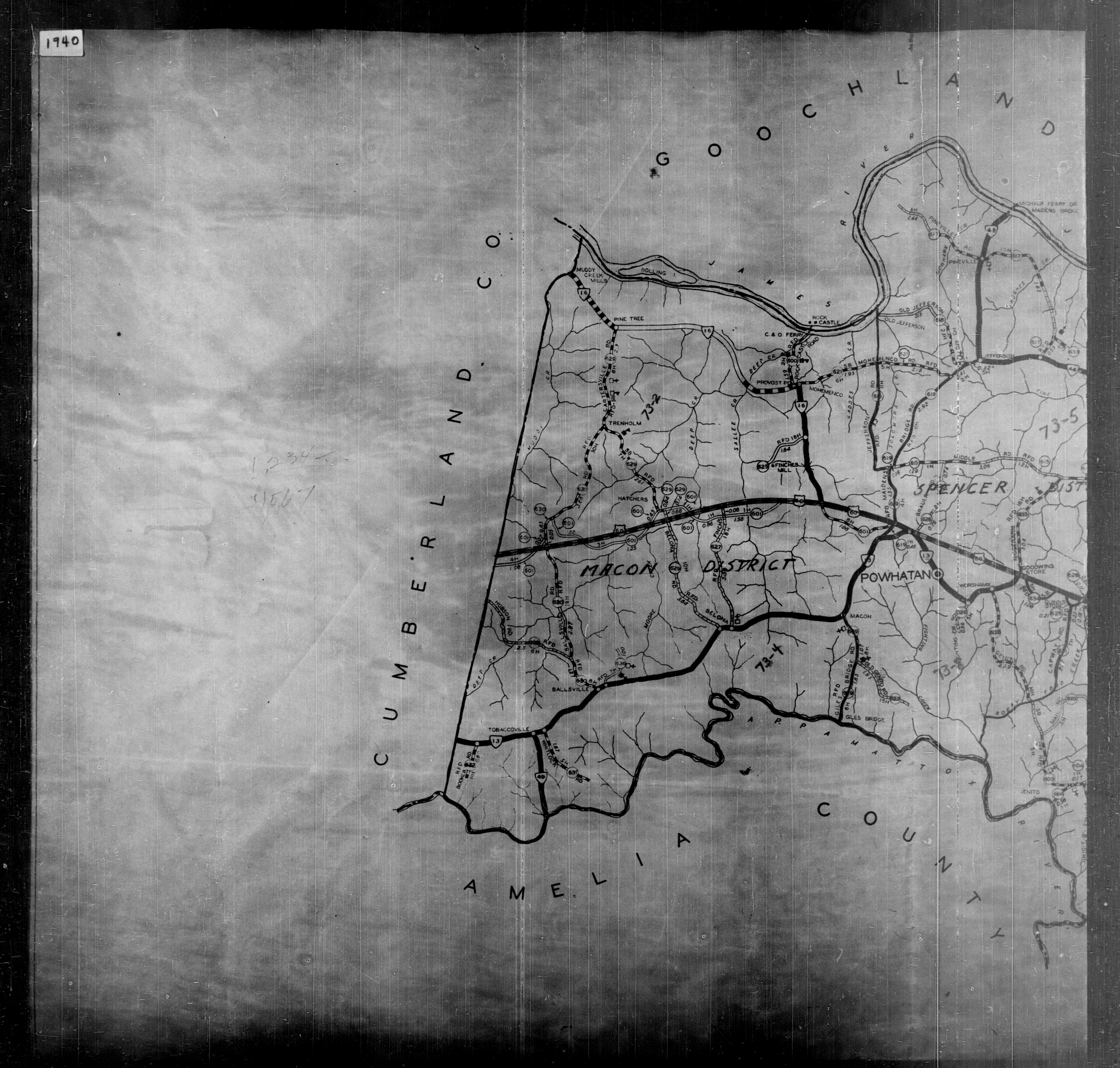 1940 Census Enumeration District Maps - Virginia - Powhatan County on