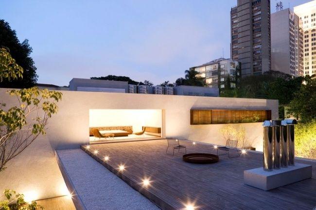 High Quality Dachterrasse Bodenleuchten Kies Holzboden Feuerstelle