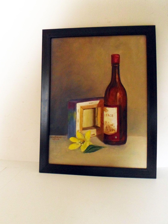Wine Bottle Wall Decor original oil painting framed artwork wine bottle and canvas bottle