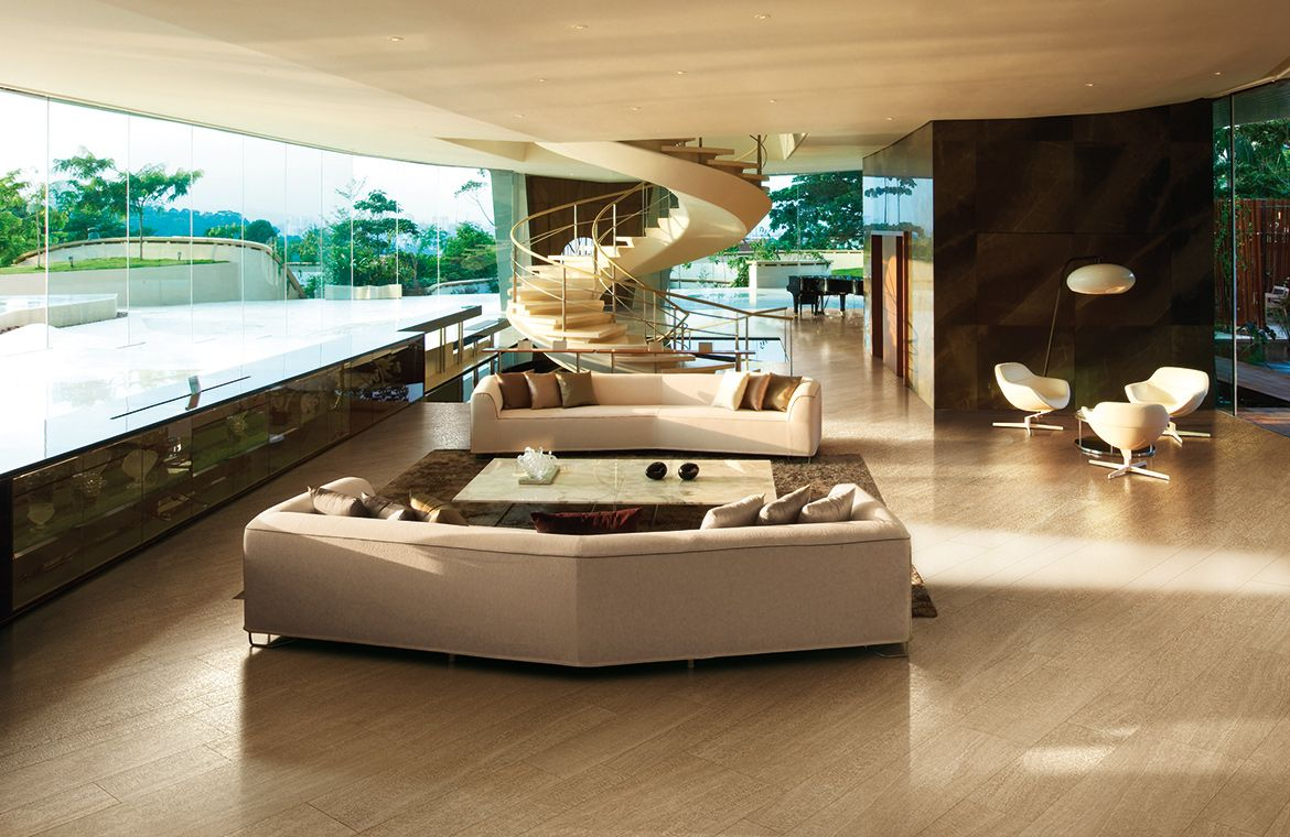 The soft warmth of Provenza Q Stone Travertine Look Porcelain Tile flooring  in Sand will help